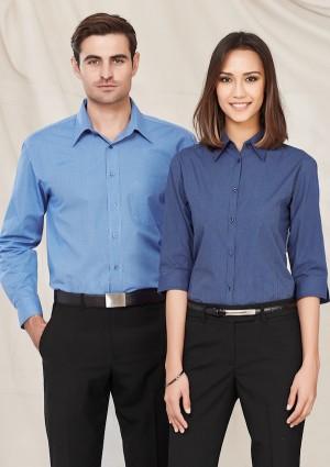 Mens Micro Check Long Sleeve Shirt
