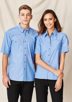 Ladies Wrinkle Free Chambray Short Sleeve Shirt