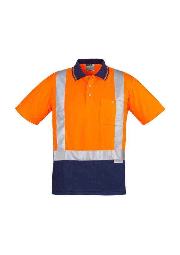 Mens Hi Vis Spliced Polo - Short Sleeve Shoulder Taped
